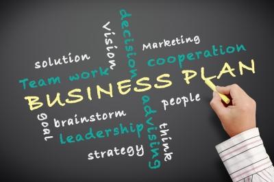 Business plan wordle on chalkboard