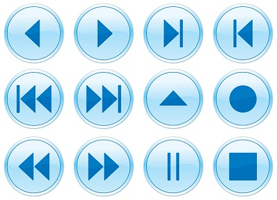 Conventional video icons; play, pause, rewind, fastforward, record