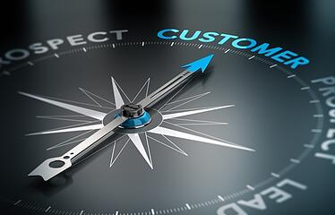 Compass pointing towards the word 'customer'