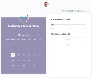 HubSpot meetings screenshot