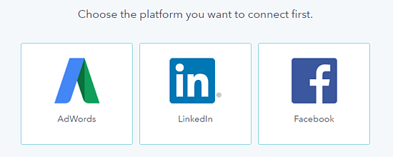 Logo of Google Adwords, LinkedIn and Facebook as part of HubSpot's Ads add-on collection