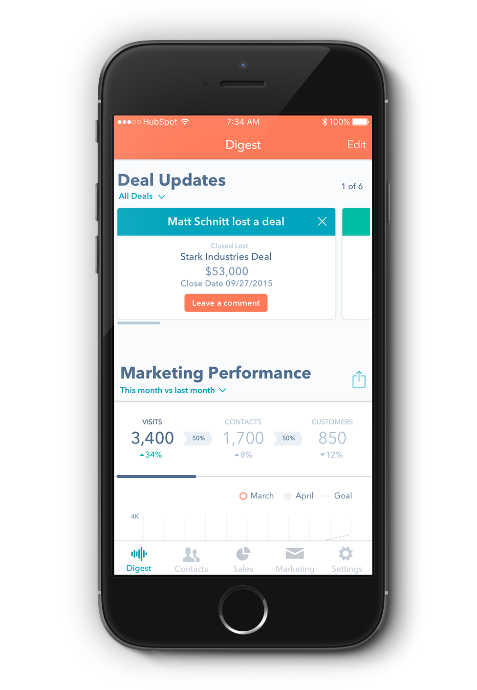 HubSpot new app on mobile phone