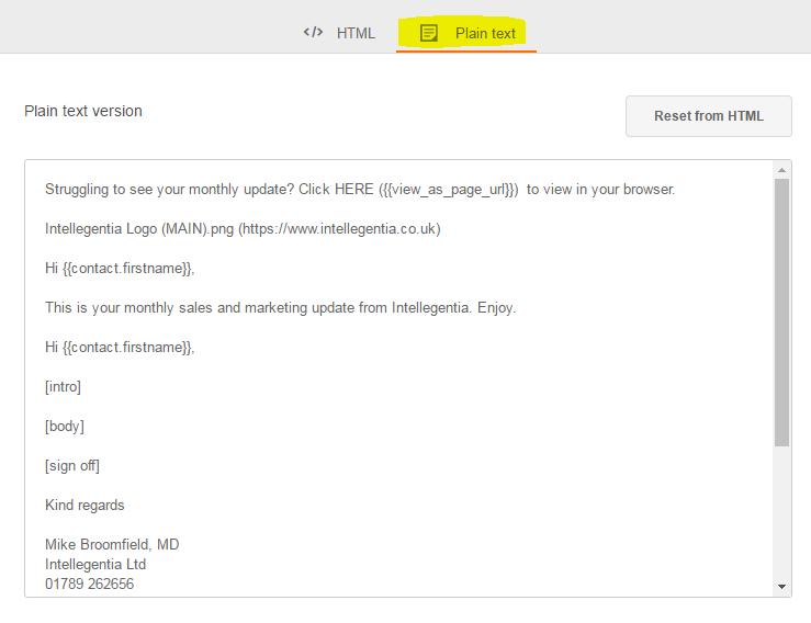 HubSpot's pain text editor screenshot
