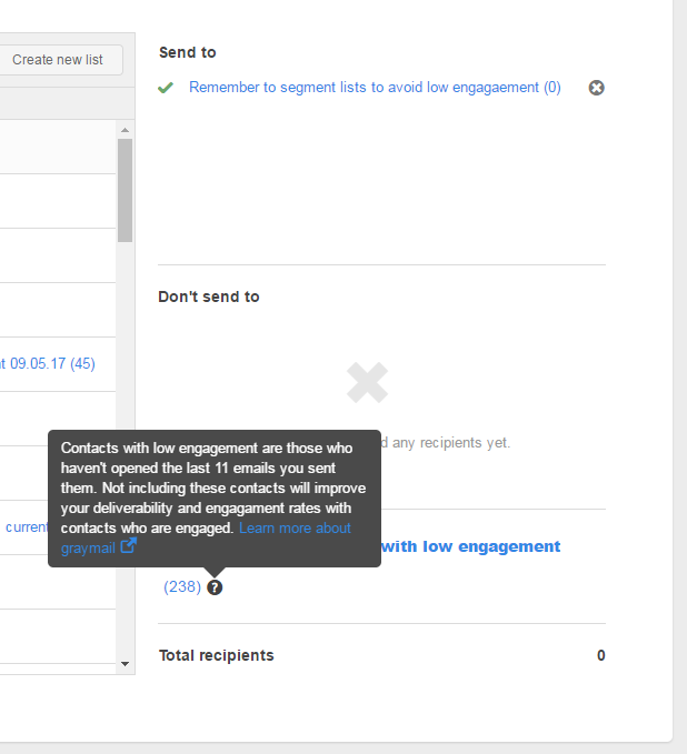HubSpot's greymail supression feature
