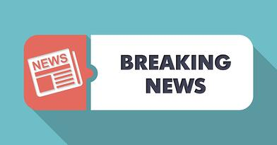 Breaking News Concept in Flat Design with Long Shadows on Blue Background..jpeg